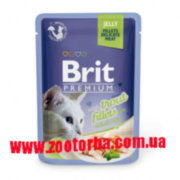 Brit , Premium , Cat , Pouch, with Trout Fillets in Jelly for Adalt Cats , Брит , консервы для кошек , кусочки филе форели , желе .