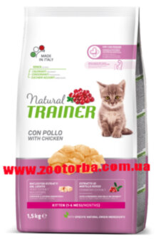 Trainer Natural , KITTEN With Fresh Chicken  , Корм для котят , от 1 до 6 месяцев , курица .